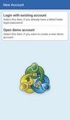 MetaQuotes MetaTrader (Android): Nový účet